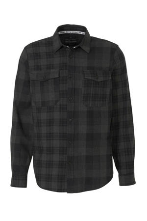Angelo Litrico geruit regular fit overhemd antraciet