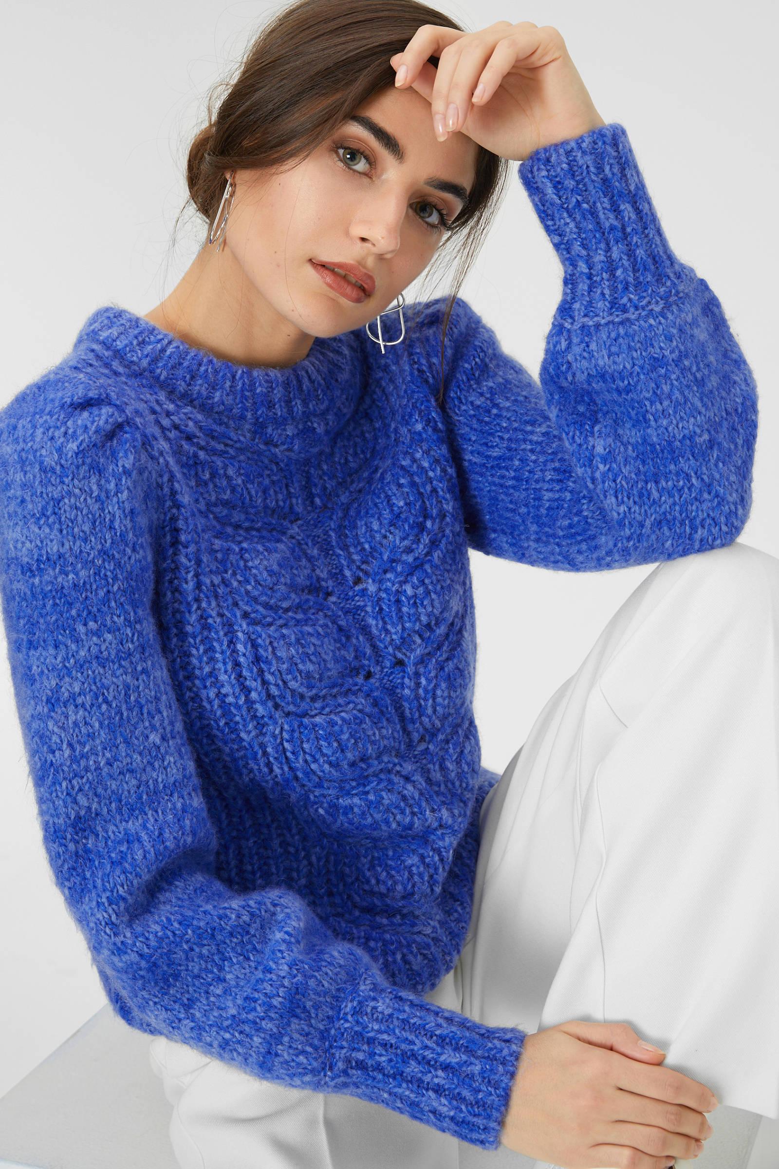 C&A grofgebreide trui blauw | wehkamp