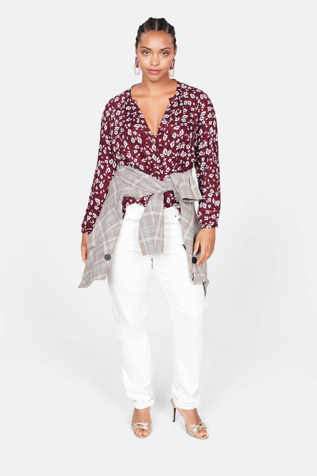 Violeta by Mango gebloemde blouse donkerrood, Donkerrood