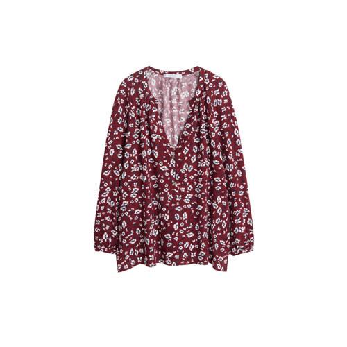Violeta by Mango gebloemde blouse donkerrood