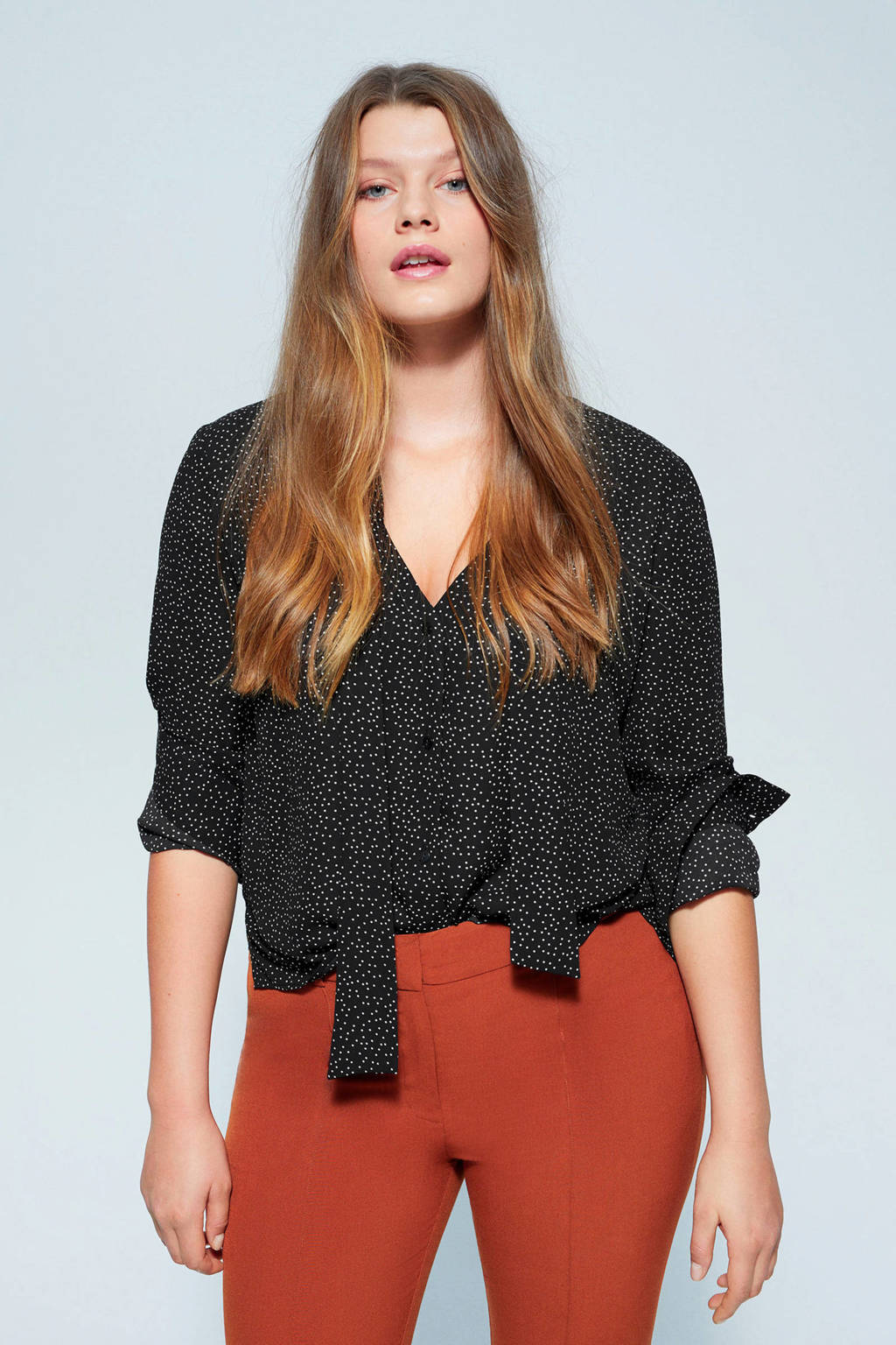 Violeta by Mango blouse met stippen zwart, Zwart