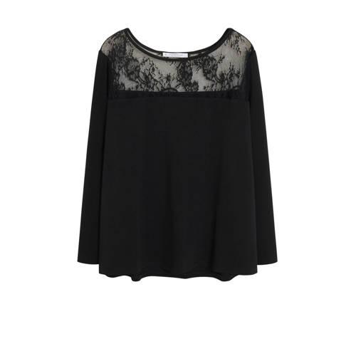 Violeta by Mango top met kant zwart