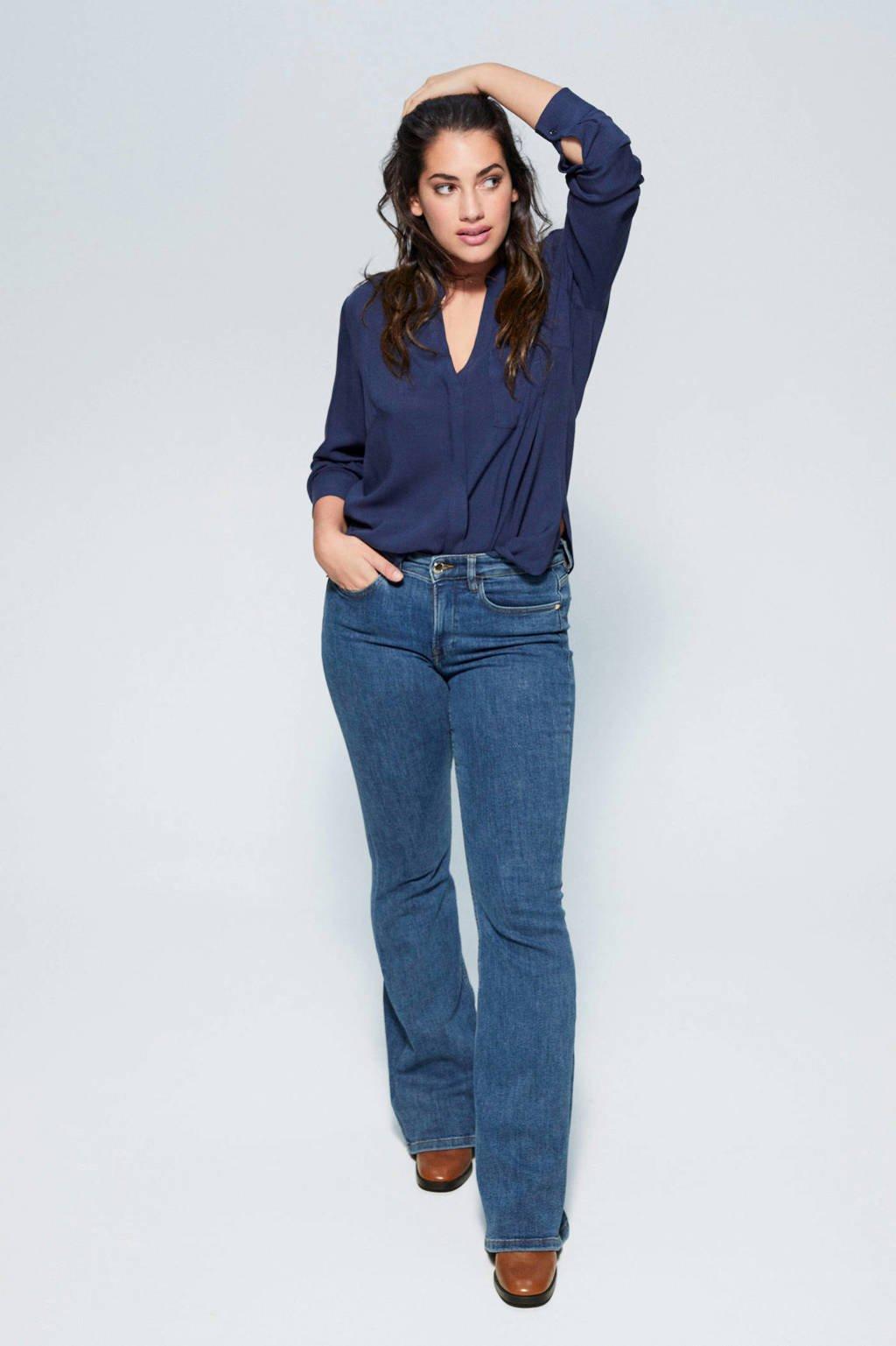 Violeta by Mango blouse met v-hals, Marineblauw