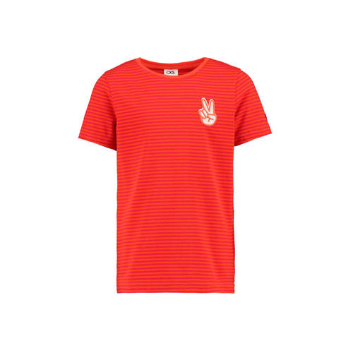CKS KIDS gestreept T-shirt Yarne rood/donkerrod/wi