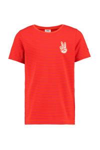 CKS KIDS gestreept T-shirt Yarne rood/donkerrood/wit, Rood/donkerrood/wit