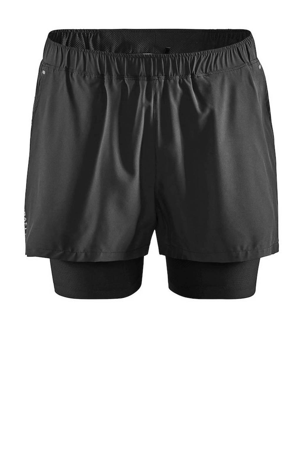 Craft   2-in-1 sportshort zwart, Zwart