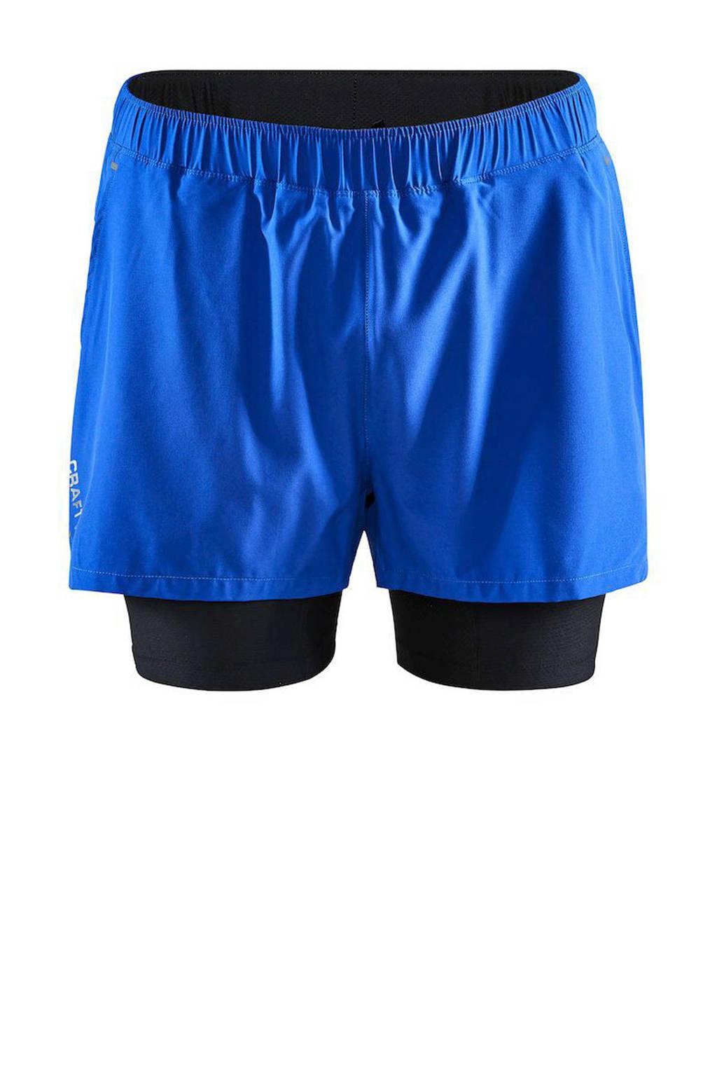 Craft   2-in-1 sportshort blauw/zwart, Blauw/zwart