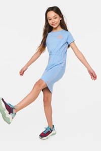 WE Fashion jersey jurk met contrastbies lichtblauw/oranje, Lichtblauw/Oranje