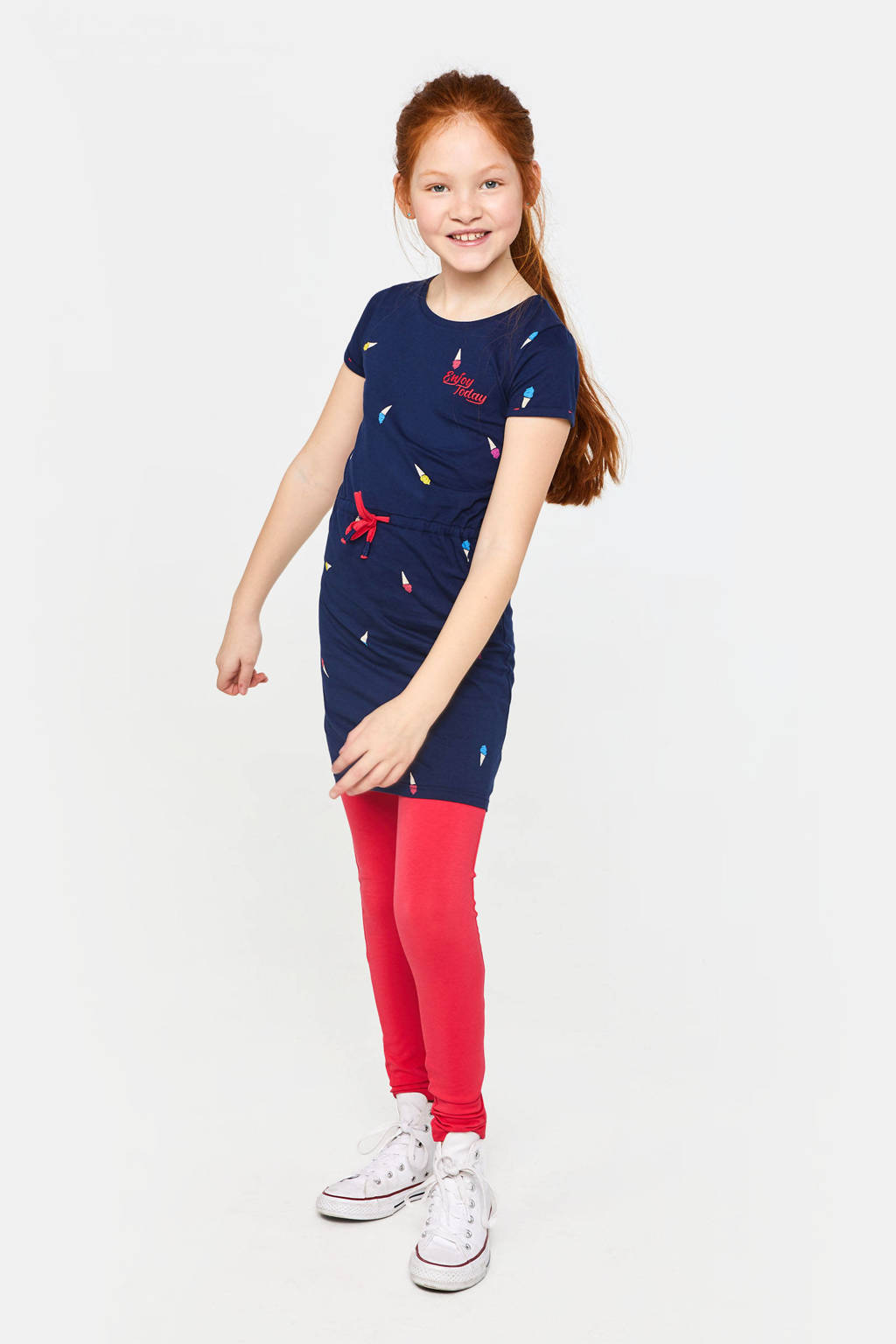 WE Fashion jersey jurk met all over print donkerblauw/rood/geel, Donkerblauw/rood/geel