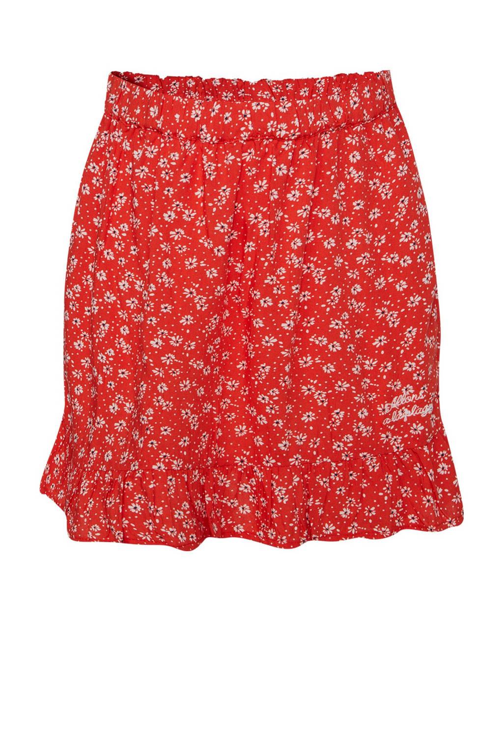 WE Fashion gebloemde rok rood/wit/zwart, Rood/wit/zwart
