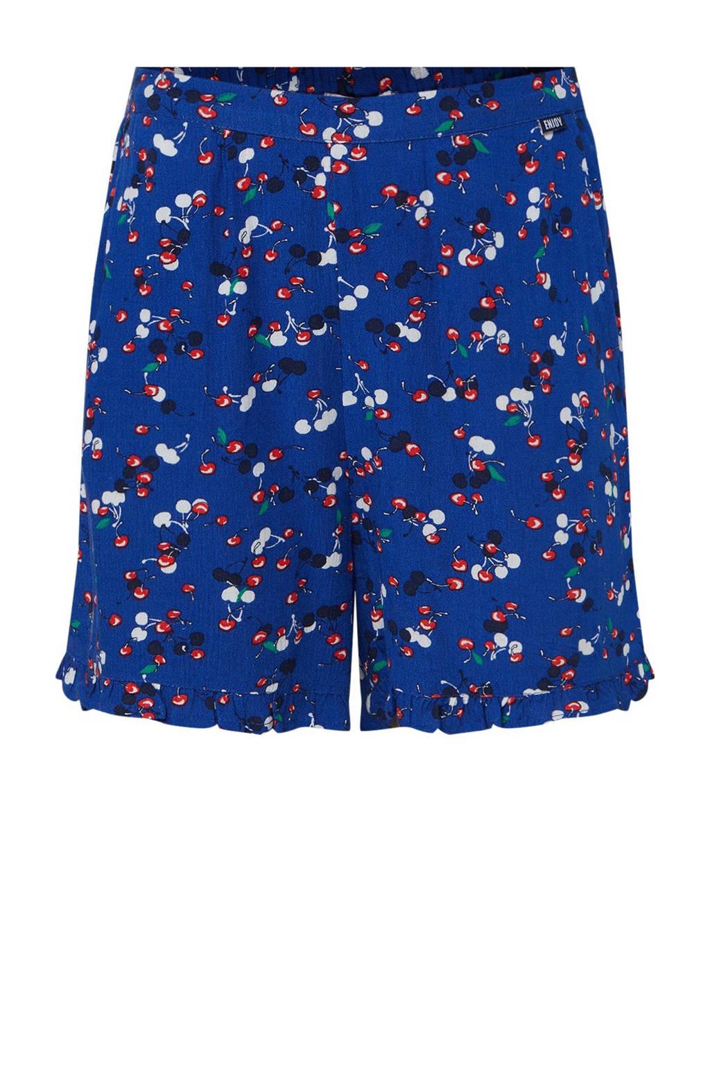 WE Fashion loose fit short met fruitprint bold blue, Bold Blue