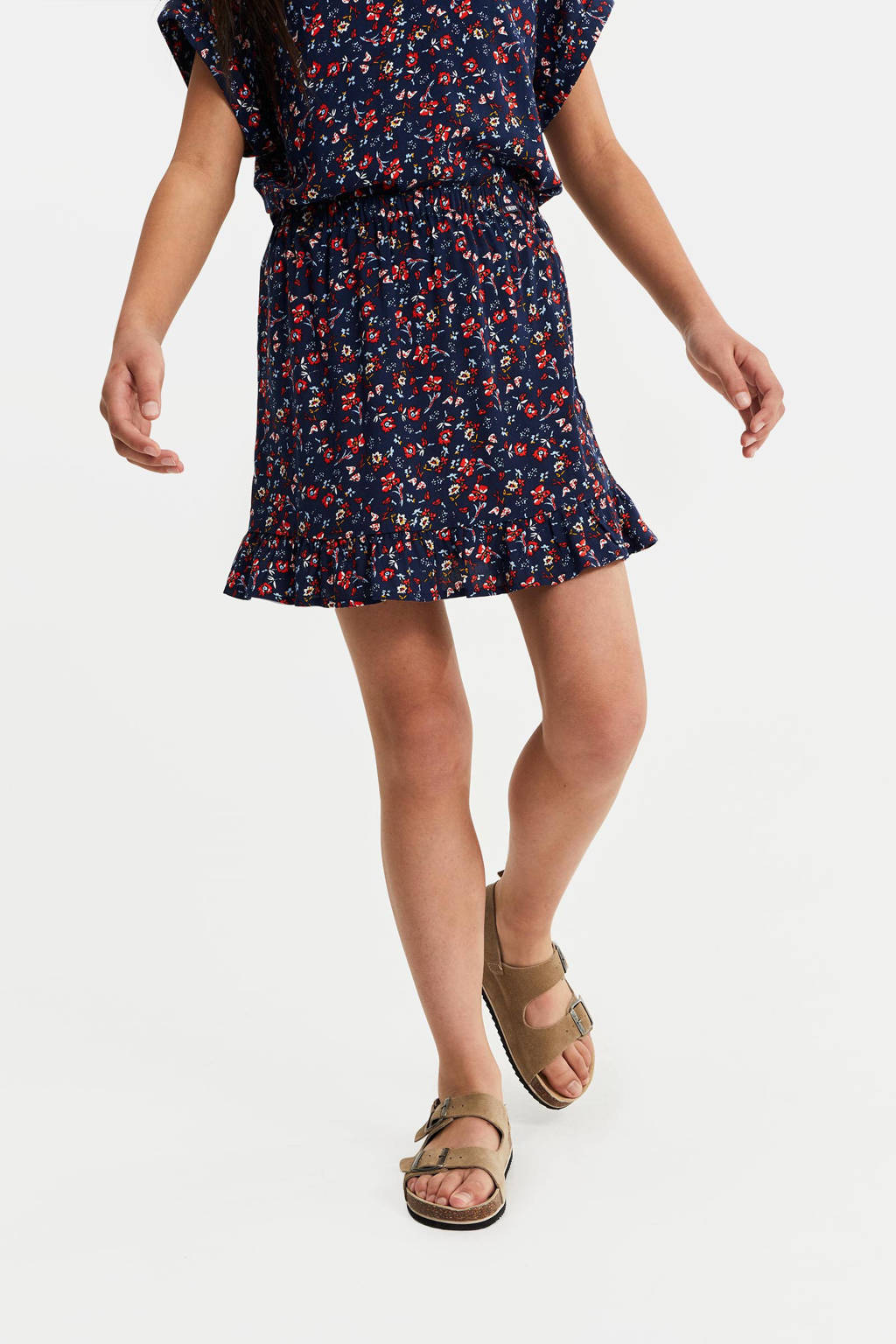 WE Fashion rok met all over print donkerblauw/rood, Donkerblauw/rood