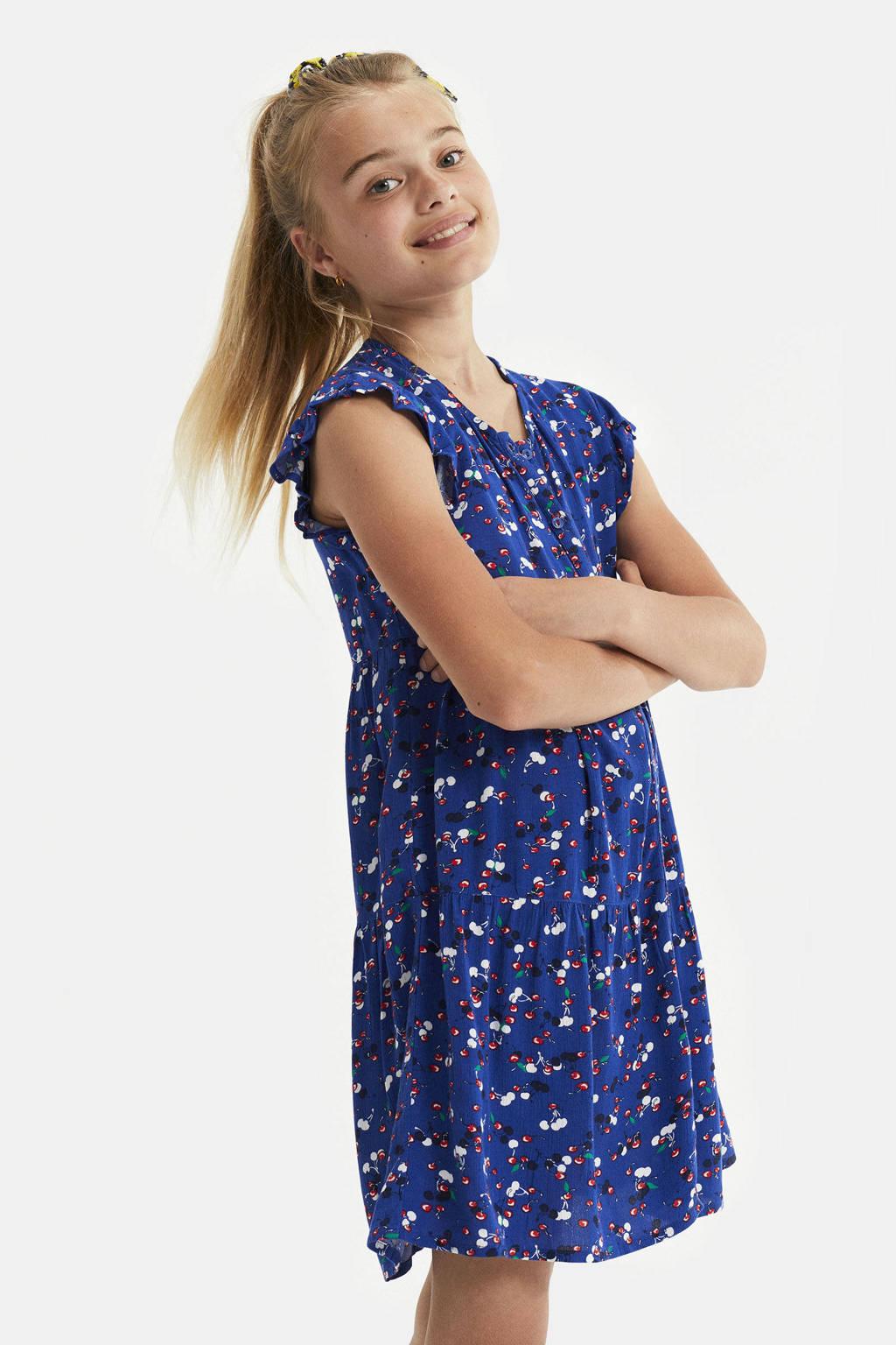 WE Fashion jurk met fruitprint en volant blauw, Blauw