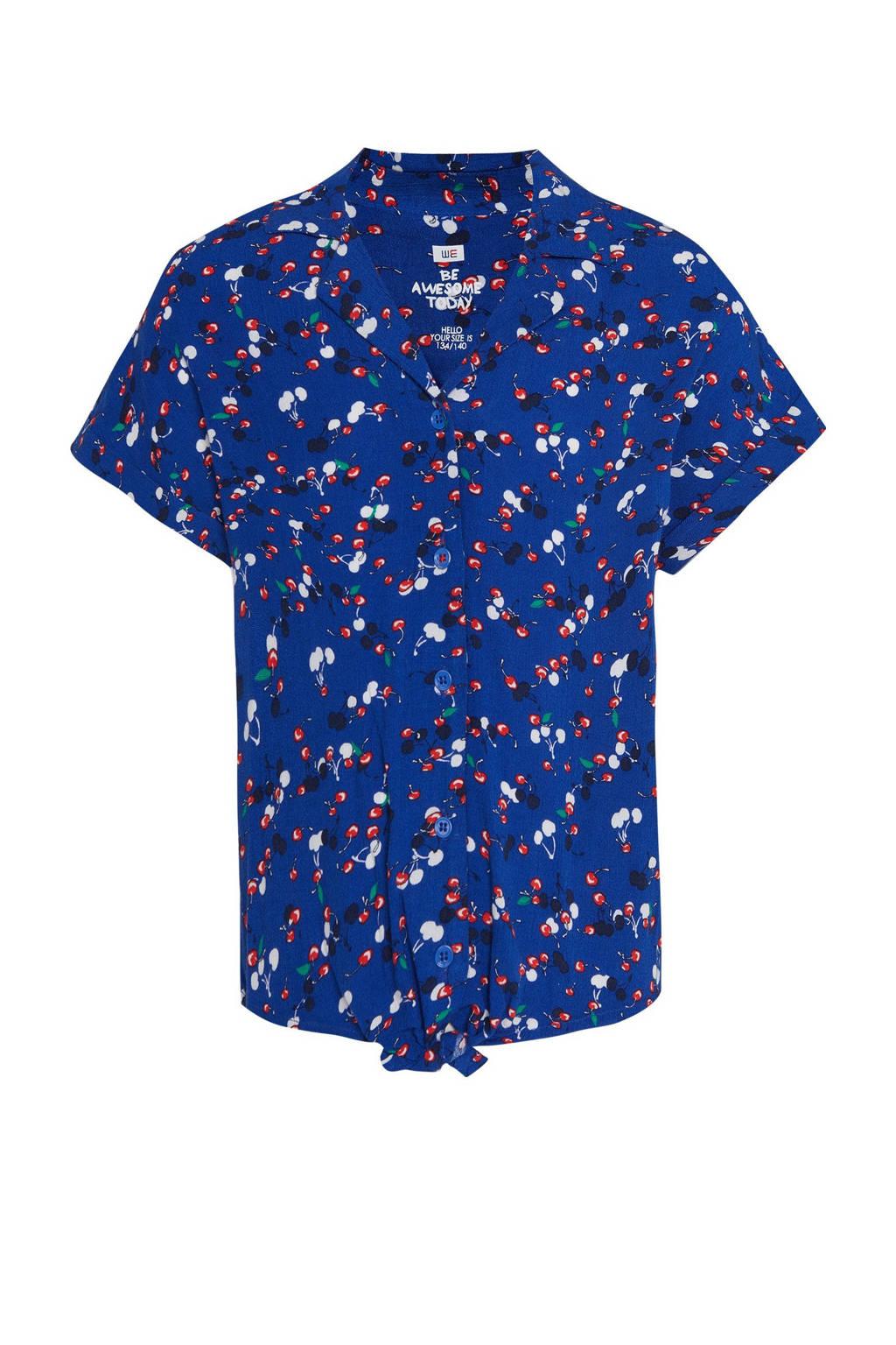 WE Fashion blouse met fruitprint blauw, Blauw