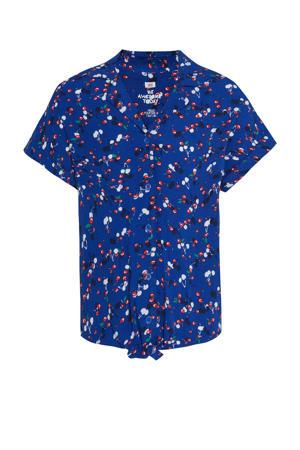 blouse met fruitprint blauw
