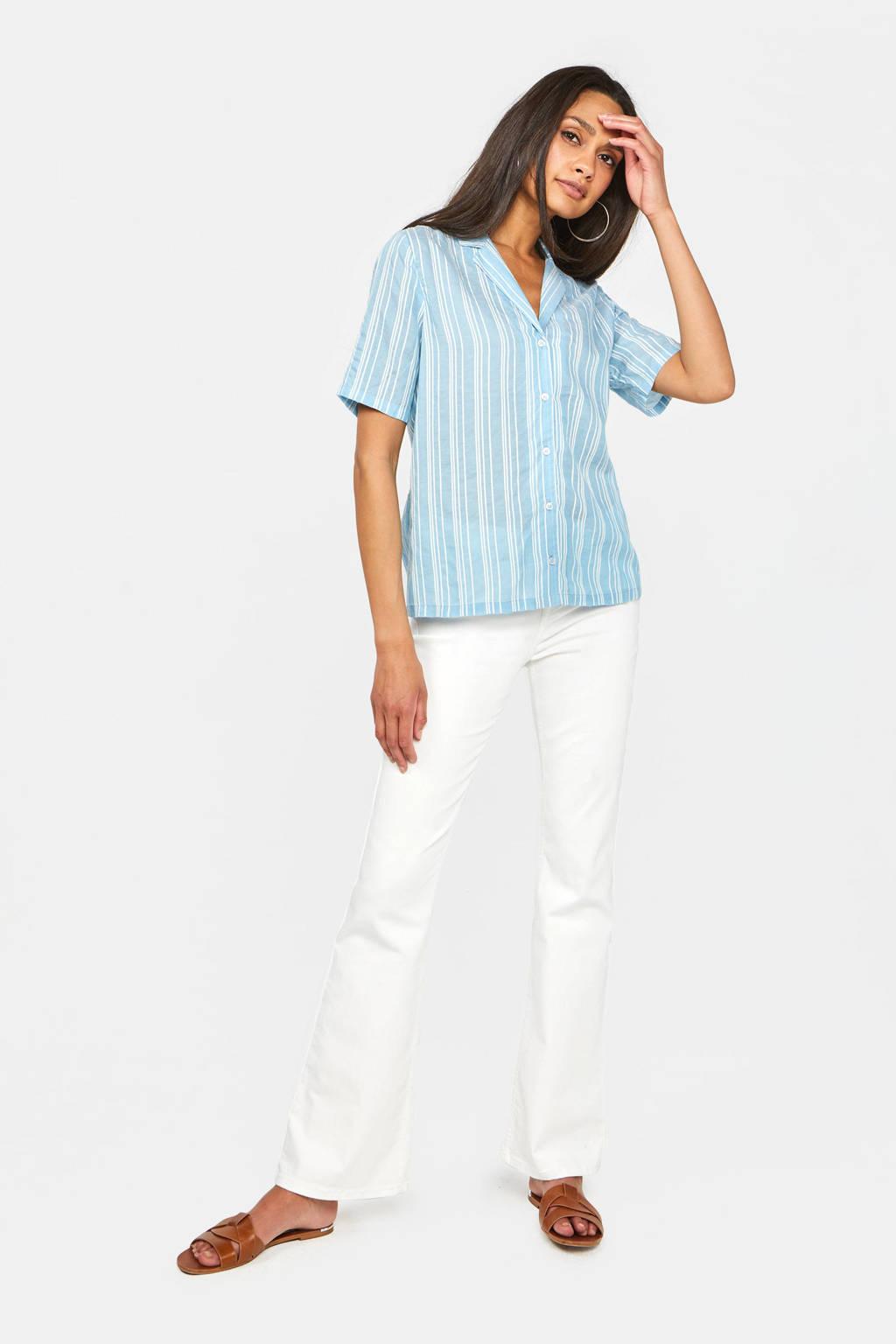 WE Fashion gestreepte blouse lichtblauw/wit, Lichtblauw/wit