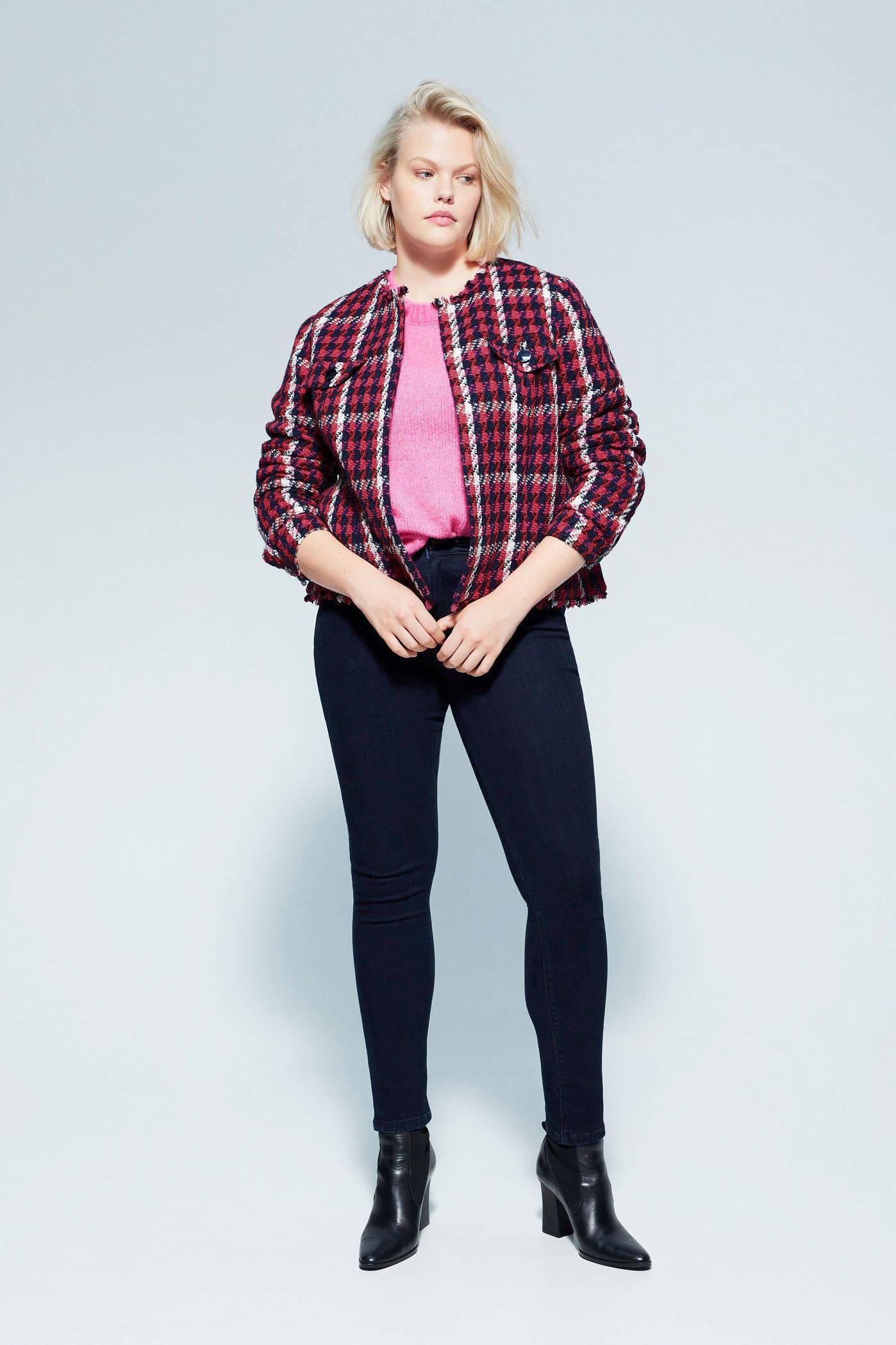 Violeta by Mango geruit tweed jasje roodblauw | wehkamp