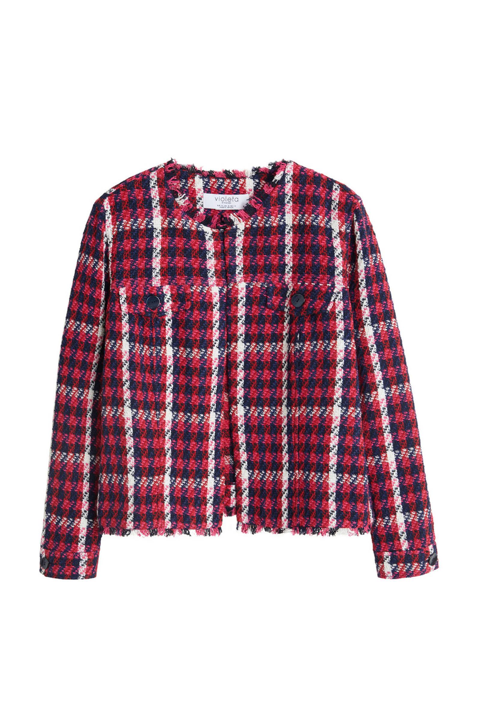 geruit tweed jasje roodblauw