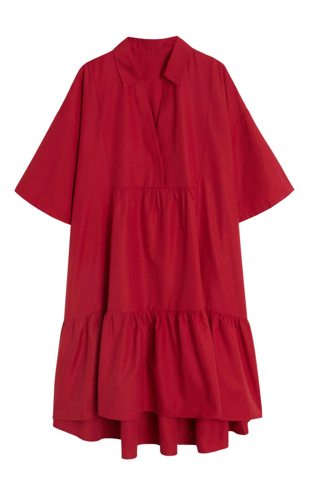 Mango jurk met volant rood, Rood