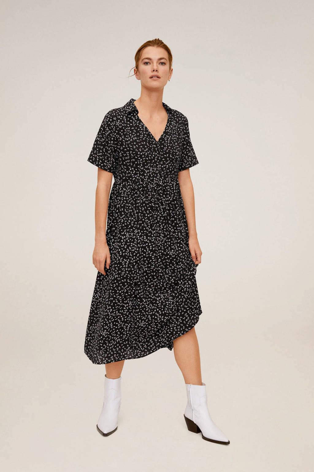 Mango maxi jurk met plooien zwart, Zwart