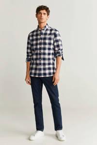 Mango Man gestreept regular fit overhemd blauw/rood/wit/grijs, Blauw/rood/wit/grijs