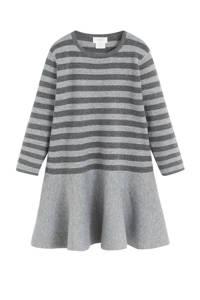 Mango Kids gestreepte fijngebreide jurk grijs melange/antraciet, Grijs melange/antraciet