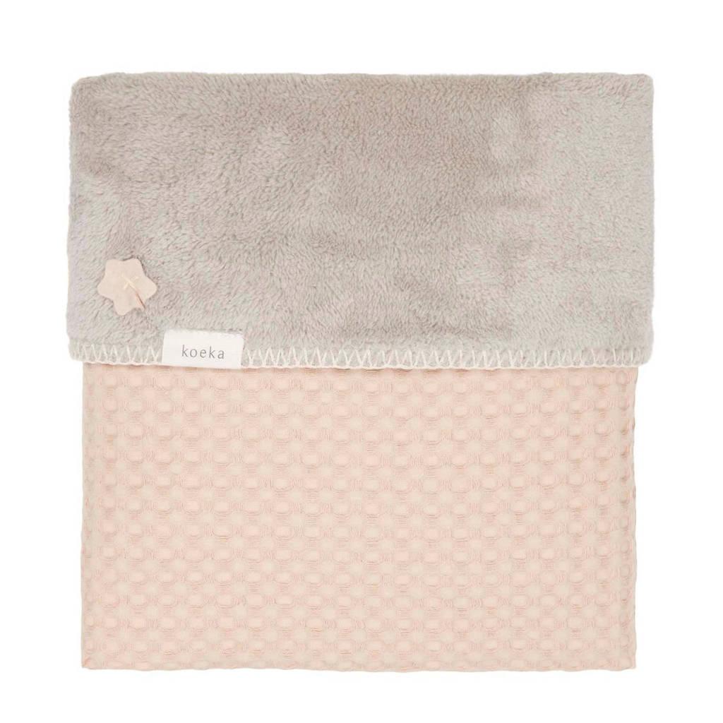 Koeka Oslo baby ledikantdeken teddy 100x150 cm Sand/Misty, Sand/Misty Grey