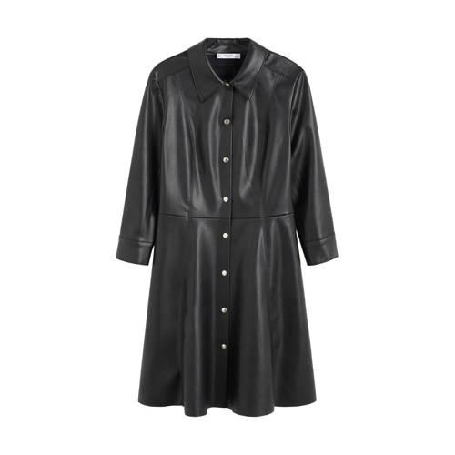 Mango imitatieleren jurk zwart