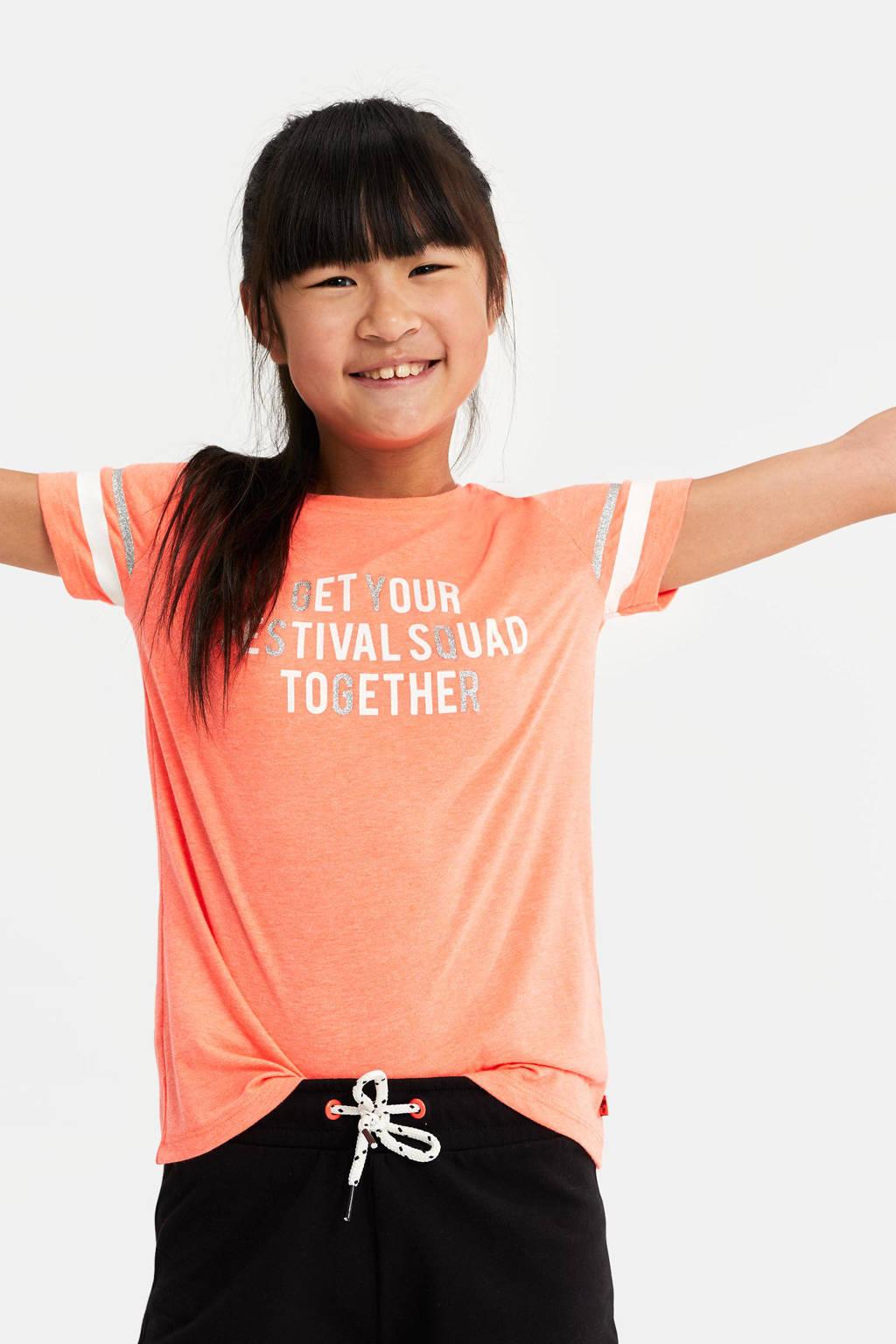 WE Fashion T-shirt met tekst en glitters oranje, Oranje