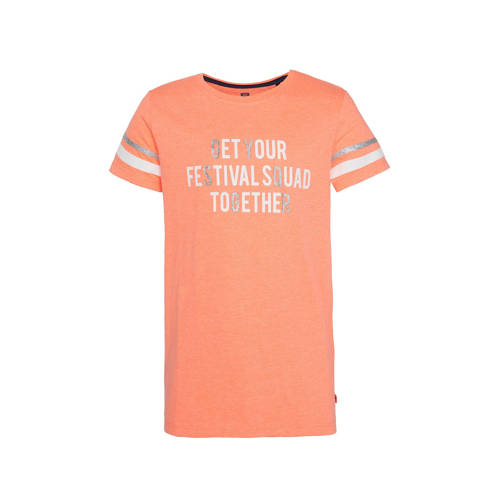 WE Fashion T-shirt met tekst en glitters oranje