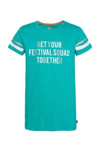 WE Fashion regular fit T-shirt met contrastbies turquoise/wit/zilver, Turquoise/wit/zilver