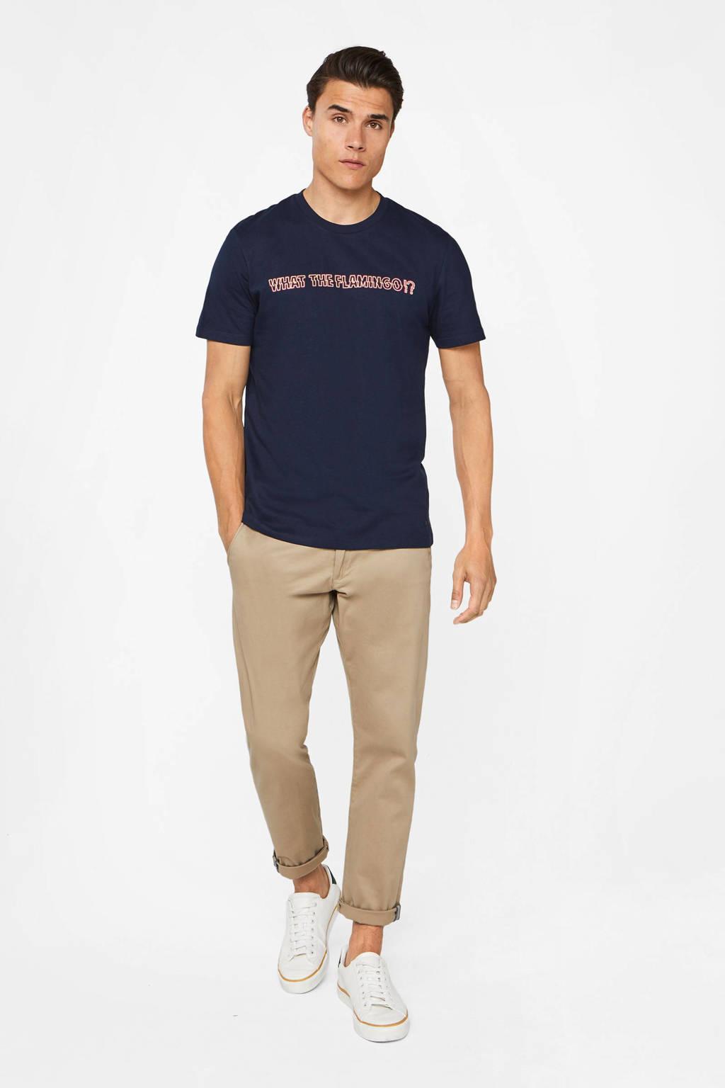 WE Fashion T-shirt met tekst donkerblauw/oranje, Donkerblauw/oranje
