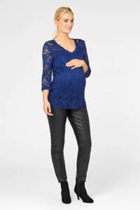 MAMALICIOUS kanten zwangerschapstop met ceintuur blauw, Blauw