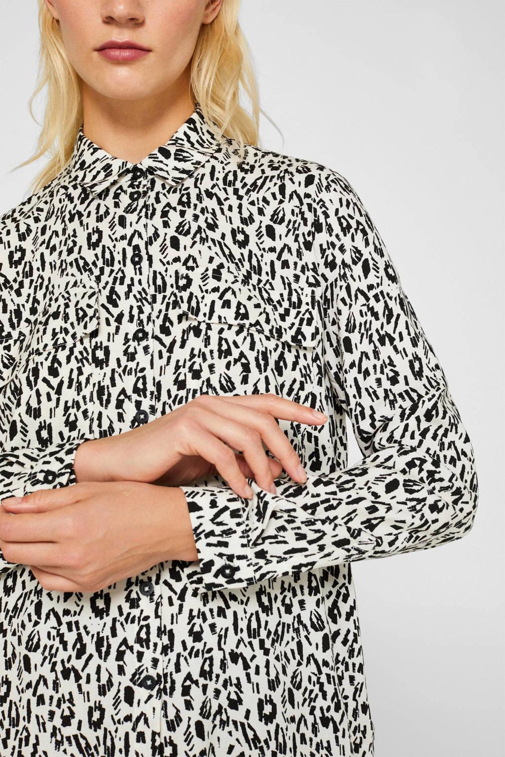ESPRIT Women Casual blouse met all over print ecru/zwart, Ecru/zwart