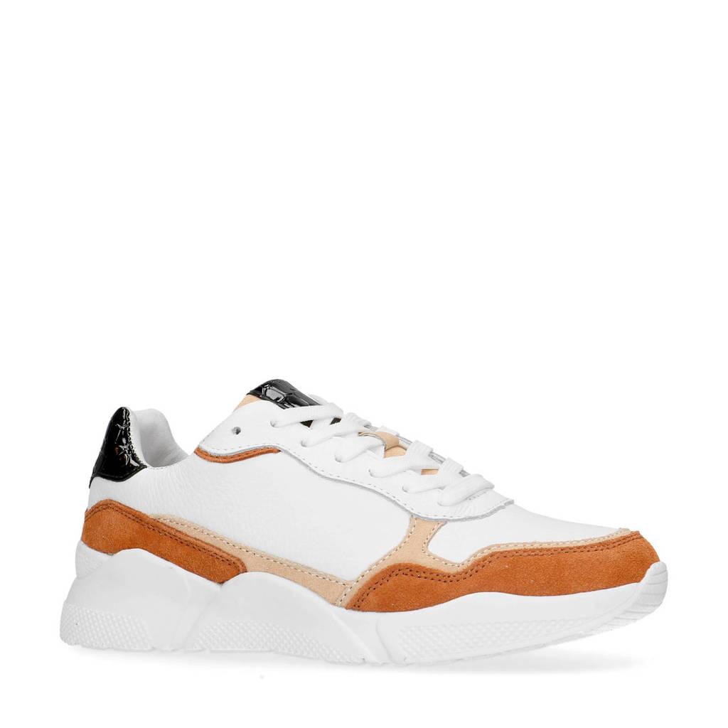 Manfield   leren dad sneakers wit/multi, Wit/multi