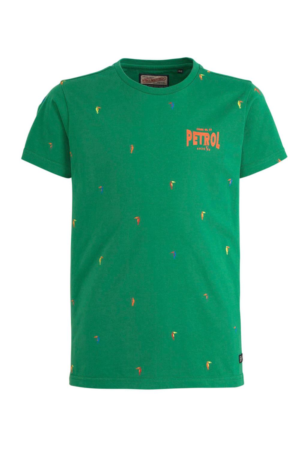 Petrol Industries T-shirt met all over print groen, Groen