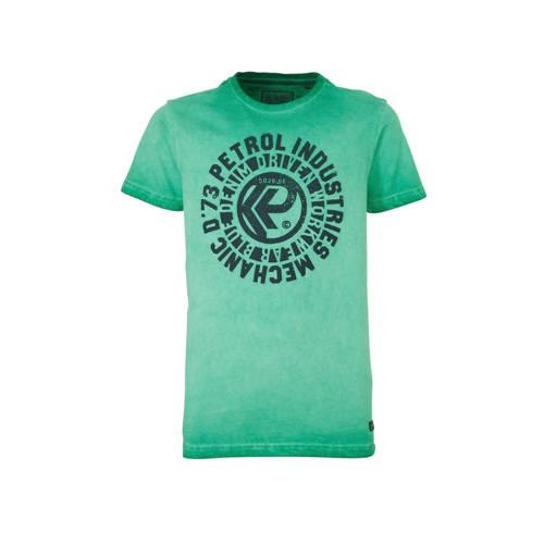Petrol Industries T-shirt met printopdruk groen/do