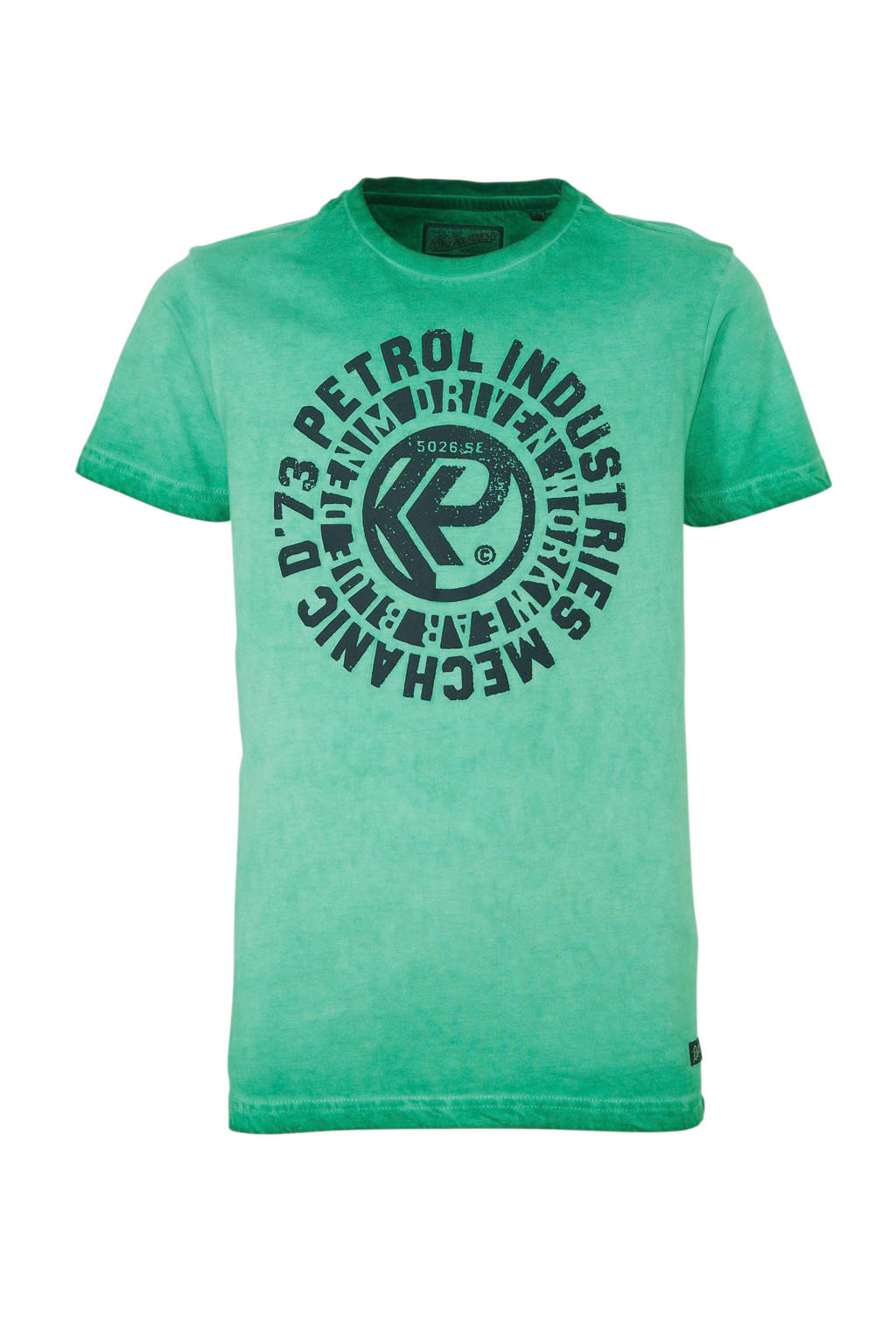 Petrol Industries T-shirt met printopdruk groen/donkerblauw, Groen/donkerblauw