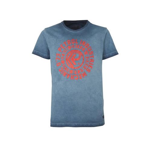 Petrol Industries T-shirt met printopdruk donkerbl