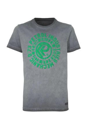 T-shirt met printopdruk grijs/groen