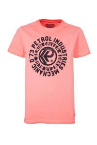 Petrol Industries T-shirt met printopdruk fel oranje, Fel oranje