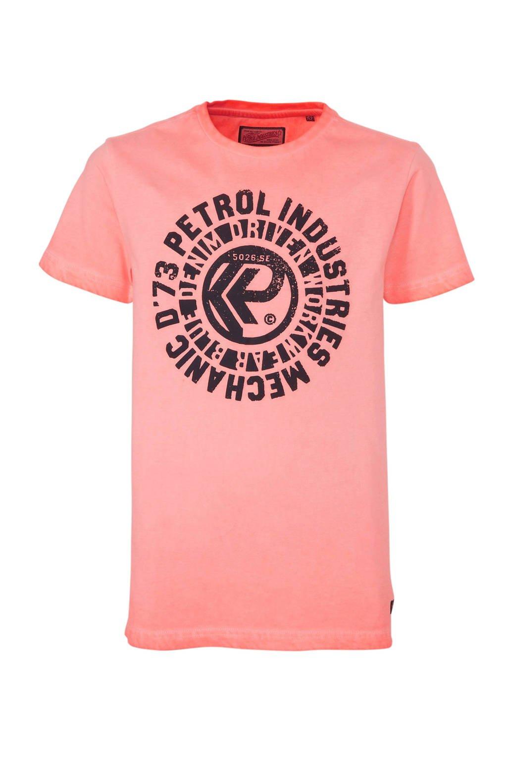 Petrol Industries T-shirt met printopdruk zalm/zwart, Zalm/zwart
