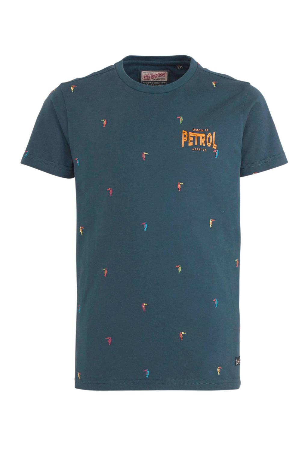 Petrol Industries T-shirt met all over print donkerblauw, Donkerblauw