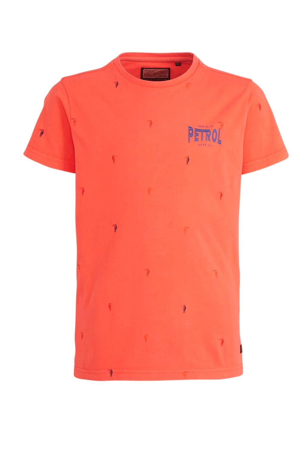 Petrol Industries T-shirt met all over print oranje, Oranje