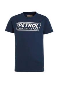 Petrol Industries T-shirt met logo donkerblauw/wit, Donkerblauw/wit