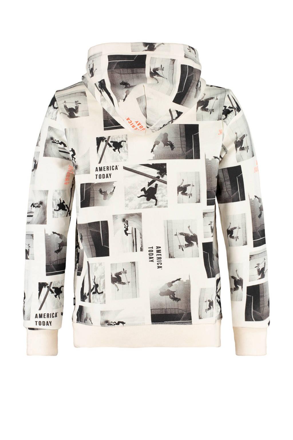 America Today Junior hoodie Serius met all over print ecru/grijs, Ecru/grijs