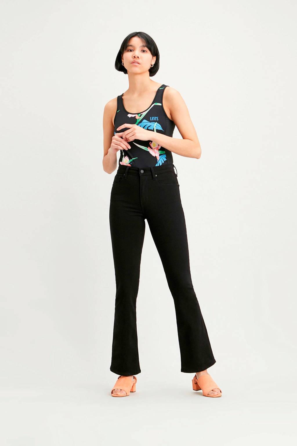 Levi's 725 high waist flared jeans zwart, Zwart