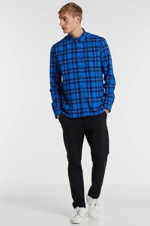gestreept regular fit overhemd blauw/rood/zwart