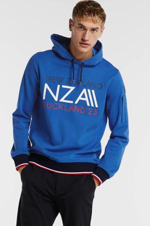 hoodie met printopdruk blauw/wit/rood