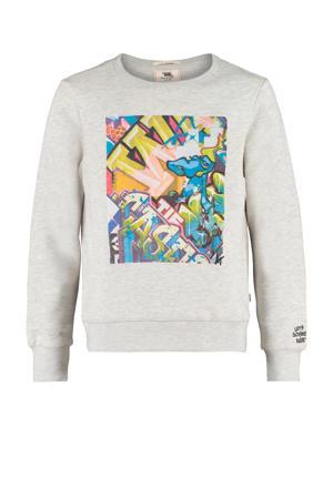 sweater Sevan met printopdruk lichtgrijs melange